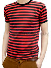 MENS stripey tee t-shirt red black indie mod sailor NEW striped nautical punk