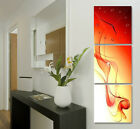 Red/Orange Silk Wall Art On Vertical Canvas Prints Set Of 3 W/ Real Clock FRAMED