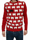 Mens Red sheep princess diana jumper 80s 70s kitsch indie vtg retro xs s m l xl