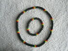 Mens/Boys Surfer Black & Rasta Wood/Bead Surfers Necklace or Bracelets ~ 99p