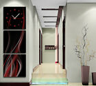 Abstract Scarlet & Silver Lines Decorative Wall Clock Canvas Set Of 3 FRAMED