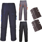 Portwest Mens Contrast Trousers Work Pants Black or Navy All Sizes Kneepads too!