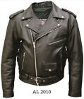 NEW 40 to 56 Mens Motorcycle Jacket 1Pc. Buffalo Leather Quilted Liner AL2010