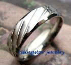 Elegant Groove Design Stainless Steel Wedding Band Anniversary Ring Size 8, 9