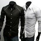 ST39 New Mens Luxury Casual Slim Fit Stylish Dress Shirts 2 Colors Black,White
