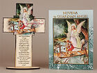 CRUCIFIX CROSS & NOVENA BOOK GUARDIAN ANGEL MIRACULOUS / LOURDES HOUSE BLESSING