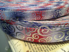 "3/8', 7/8"" Patriotic Red/White/Blue With METALLIC Silver Swirls sold by the yard"
