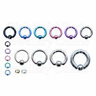 1 x Titanium Captive Bead CBR BCR Ring Pick Colour & Size 14G-6G 1.6mm-4mm Ear