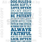 DOG RULES HOUSE HOME FAMILY LOVE LICK PET Quote Vinyl Wall Decal Decor Sticker