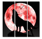 Wolf Under Pink Moon Modern Decor Wall Clock On Quality Canvas Prints Set Of 3