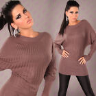 NEW SEXY RIBBED ROUND NECK LONG COTTON JUMPER SWEATER 8 10 12 14 ~ PARTY/CASUAL