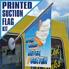 ICE CREAM FLAG SUCTION KIT Full Colour Double Sided - VARIOUS DESIGNS