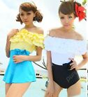 Elegant Two Tone Ruffle Off Shoulder High Waist One Piece+Beach skirt  Swimsuit
