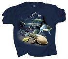 Kids Youth T Shirt Sharks and Rays Full Color Graphic Front and Back