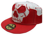 Tattoo Style Red Skull Fitted Flat Peak Baseball Hat/Cap (All Sizes)