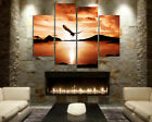 Eagle Over Lake In Sunset Modern Wall Art On Quality Canvas Prints Set Of 4