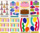 Stickopotamus *BIRTHDAY* Set of 2 STICKER SHEETS ASSORTED Candles Cake Balloons