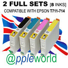 2 FULL SETS of cartridges (8 INKS) compatible with T711-714 [not EPSON original]