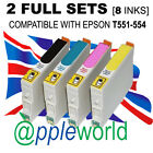 2 FULL SETS of cartridges (8 INKS) compatible with T551-554 [not EPSON original]