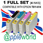 1 FULL SET of cartridges (4 INKS) compatible with T611-614 [not EPSON original]