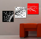 Red/White/Black Abstract Tree Wall Clock On Canvas Set Of 3 Livingroom Decor