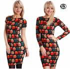 LADIES OWL PRINT SHORT / LONG MIDI DRESS SIZE 8-14 WOOL KNITTED JUMPER BOHO BIRD