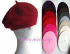 Ladies Girls Rabbit Fur Stretchy Beret Hats Caps Beanie