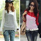 Casual Women Basic striped Long sleeve Top Blouse Shirt Autumn Tee Cotton Y503