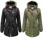 BRAVE SOUL MILITARY FUR HOODED QUILTED PADDED LADIES PARKA JACKET COAT SIZE 8-16