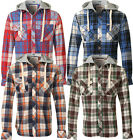 Soul Star Men's Heavy Flannel Check Hooded Slim Fit Shirts