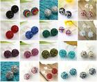 1 Pair 925 Sterling Silver CZ Crystal Round Ball Disco Stud Earrings