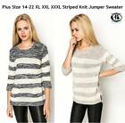 LADIES PLUS SIZE 14-22 STRIPE KNITTED JUMPER SWEATER CHUNKY TOP BLOUSE DRESS VTG