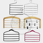 MULTI TROUSER HANGERS WARDROBE ORGANISERS - WOODEN, METAL, NON SLIP, WITH CLIPS
