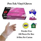 Pro-Tek Vinyl Gloves Powder Free Disposable Small Medium Large 100 PcsBox 10 Box