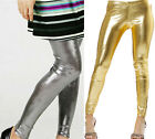 New Shiny Hot Metallic Wet Look Stretchy Fashion Tights Leggings Gold Silver UK