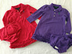 NWT Ralph Lauren size 18 or 12 months RED or PURPLE long sleeved polo dress $35