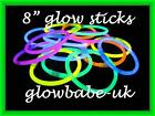 "100 / 50 x 8"" GLOW STICKS BRACELETS WITH 10 FREE ITEMS AND FREE POSTAGE"