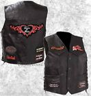 Black Leather Ladies Motorcycle Biker Vest Lady Rider with Patches Plus Women