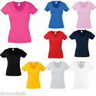 Fruit of the Loom Ladies Fitted V Neck T Shirt in 9 Great Colours and Sizes 8-18