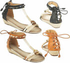 Ladies Designer Summer Low Wedge Fancy Strap Tie Up Back Sandals Women Shoes 3-8