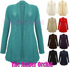 NEW LADIES WOMENS KNITTED BOYFRIEND CARDIGAN CROCHET TOP PLUS UK SIZES 16-26