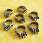 Pick 1 ~ Vintage BIRTHSTONE RING CHARM ~ Sterling Silver with Colored Stones