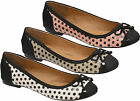 Ladies Dolcis Comfy Flat Women Polka Dots Bow Trim Ballerina Loafers Pumps Shoes