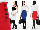 HIT ☼ Elegance Women's Skirt with Buttons ☼ High Waist Pencil Sizes 8-14 FA125