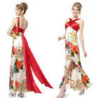 Floral Printed Crossed Straps Ladies Evening Gowns Dress 09260
