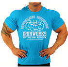 ROYAL BLUE  BODYBUILDING T-SHIRT WORKOUT  GYM CLOTHING