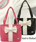 Ladies Designers Tote Hobo Shopper Shoulder Bag White Bow Black Satchel Handbag