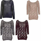 WOMENS LADIES CROCHET CABLE HOLEY KNITTED JUMPER LONG SLEEVE KNITWEAR CARDIGAN