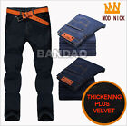 Men's plus velvet thickening jeans pants male trousers straight leg casual warm