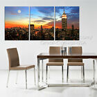 New York City Skyline At Night #28 Quality Canvas Print Set Choose Size/Clock
